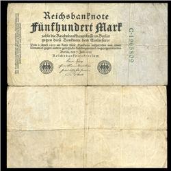 1922 Germany 500 Mark Note Hi Grade Rare (CUR-05669)