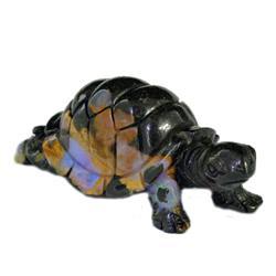 132.2ct Handcarved Rare Australian Boulder Opal Turtle (GEM-20382)