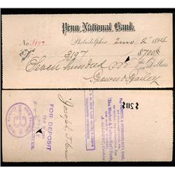 1894 Original Penn National Bank Philadelphia Cashier's Check (CUR-06244)
