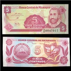 1991 Nicaragua 5 Centavos Crisp Uncirculated Note (CUR-05601)