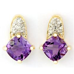 1.47Ct Natural Amethyst & 12 Diamond 9K Gold Earrings (JEW-9157X)