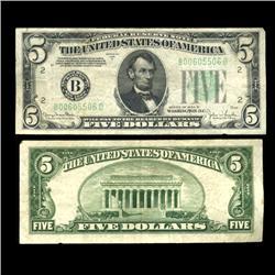 1934D $5 Federa1 Reserve Note Hi Grade RARE (COI-4720)
