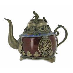 "Vintage Chinese Cloisiet & Stone Decorative Teapot 4"" (ANT-861)"