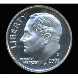 2001S Roosevelt Silver Dime Graded PCGS PR69 DCAM (COI-6420)