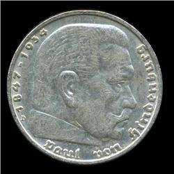 1936D Nazi Germany 5 Mark Silver Coin AU+ (COI-5660)