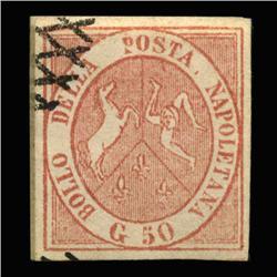 1858 VERY RARE Italy Naples 50g Postal Stamp Hi Grade $2900 BV (STM-0194)