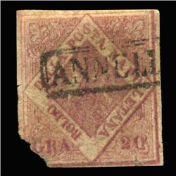 1858 RARE Italy Naples 20g Postal Stamp (STM-0192)