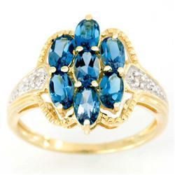 2.01Ct London Blue Topaz & Genuine Diamond Ring 9K Gold (JEW-9155X)