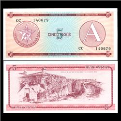 1985 Cuba 5 Peso Foreign Exchange Crisp Uncirculated Note RARE Series A (CUR-05961)