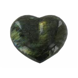 600ct Gem Grade Labradorite Polished Heart Neon Peacock Colors (GEM-21163)