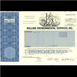 1980s Rollins International Stock Certificate Scarce Blue (COI-3352)