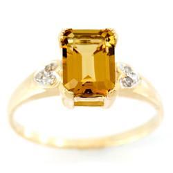 2.51Ct Natural Champagne Quartz & Diamond 9K Gold Ring (JEW-9184X)