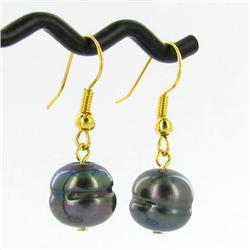 Saltwater Baroque Black Pearl Earrings (JEW-250K)