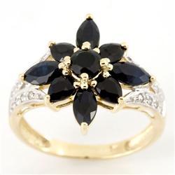 2.81Ct Black Sapphire & 16 Diamond 9K Gold Ring (JEW-9102X)