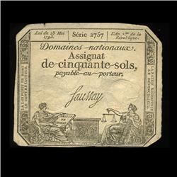 1793 France RARE 50 Sols Assignat Currency Hi Grade (CUR-05878)