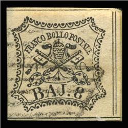 1852 RARE Italy Roman States 8b Postal Stamp Hi Grade (STM-0188)