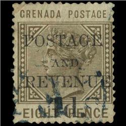1890 Grenada 1p Overprint Postage Stamp Scarce (STM-0570)