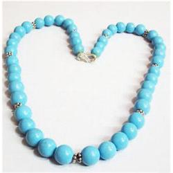 300ct Chinese Blue Tourqoise Beads Necklace Sterling Clasp  (JEW-1793)