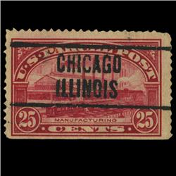 1913 US 25c Parcel Post Stamp Chicago Precancel NICE (STM-0564)