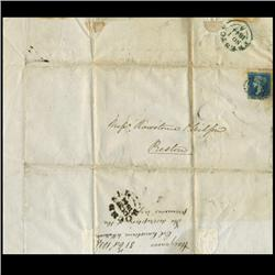 1841 British 2p Blue on 1844 Cover Plate 3 RARE (STM-0638)
