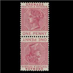 1883 Grenada 1p Postage Stamp Mint Tete-beche Pair RARE w/ Varieties (STM-0593)