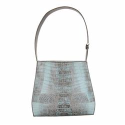 Ladies Light Gray Crocodile Handbag (ACT-089)