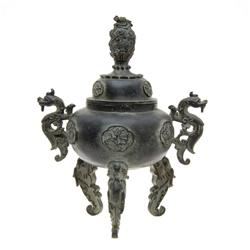 Tibet Bronze Vintage Lidded Footed Vase  (ANT-606)