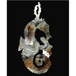 117ct Carved Druzy Agate Seahorse Pendant Super Sparkler With Sterling (JEW-1744)