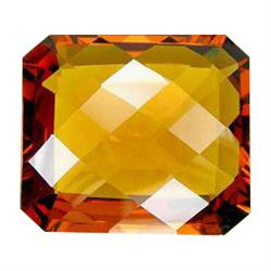 36.80ct Madeira Citrine Emerald Checker Cut Appraisal Estimate $7360 (GEM-23794)