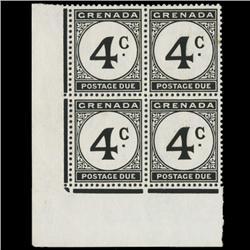 1952 Grenada 4p Postage Due Stamp Block PREMIUM (STM-0620)