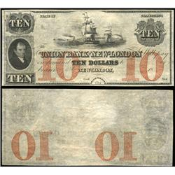 1840 Connecticut Union Bank Crisp Unc $10 Note RARE (CUR-06248)