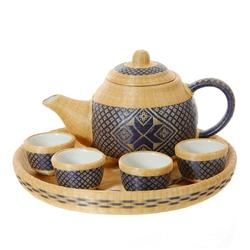 Fine Woven Bamboo Over Ceramic Tea Set (DEC-026)