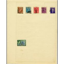 1920s Brazil Hand Made Stamp Collection Album Page 6 Pieces (STM-0289)