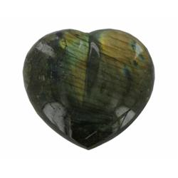 540ct Gem Grade Labradorite Polished Heart Neon Peacock Colors (GEM-21165)