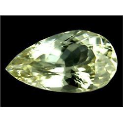 13.5ct 100% Natural Pear Cut Yellow Afghani Kunzite Appraisal Estimate $6750 (GEM-23308)