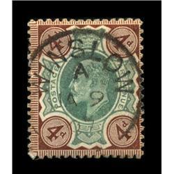 1902 RARE British 4p Edward Stamp Hi Grade (STM-0029)