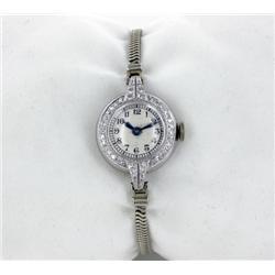 Vintage 1950s Ladies Platinum/White Gold & Diamond Movado Watch RARE (WAT-168)