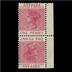 1883 Grenada 1p Postage Stamp Mint Tete-beche Pair RARE w/ Varieties (STM-0592)