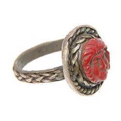 Rare Ancient Roman Silver Jasper Cameo Ring 1800 Y/O (ANT-774)