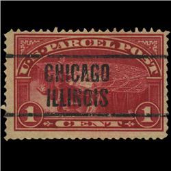 1913 US 1c Parcel Post Stamp Chicago Precancel NICE (STM-0563)