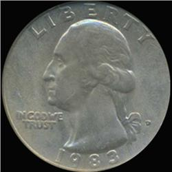 1983D Washington 25c Quarter Coin Graded GEM (COI-6894)