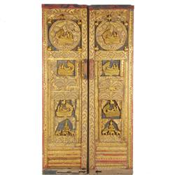 Antique Carved Teak Buddhist Temple Doors (ANT-370)