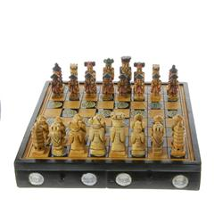 Hand Painted Marble Chess Set Wooden Box (CLB-273)