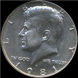 1981 Kennedy Half 50c Coin Graded GEM (COI-6912)