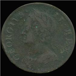 1753 US British Colonial George II Half Penny Very Hi Grade (COI-6943)