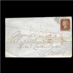 1841 RARE British 1p Red Victoria Stamp Hi Grade On Cover (STM-0060)