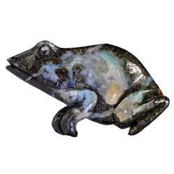 60.6ct Handcarved Rare Australian Boulder Opal Frog (GEM-20373)