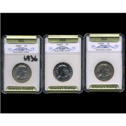 1980P D & S Anthony Dollar Coin Graded GEM Set of 3 (COI-6936)