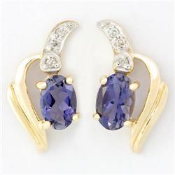 1.16Ct Natural Iolite & Diamond 9K Gold Earrings (JEW-9089X)