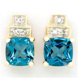 1.56Ct London Blue Topaz & Diamond 9K Gold Earrings (JEW-9133X)